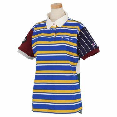 チャンピオンゴルフ Champion GOLF レディース アシンメトリー ボーダー柄 半袖 ポロシャツ CW-RG306 2020年モデル ブルー(340)