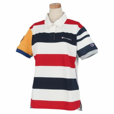 チャンピオンゴルフ Champion GOLF レディース アシンメトリー ボーダー柄 半袖 ポロシャツ CW-RG306 2020年モデル トリコロール(34T)