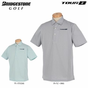 【ss特価】△ブリヂストンゴルフ TOUR B メンズ ストライプ柄 半袖 ポロシャツ NGM04A ゴルフウェア [春夏モデル 67%OFF] 特価 詳細1