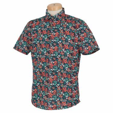 【ss特価】△パラディーゾ メンズ 総柄 フラワープリント 半袖 ポロシャツ NSM36A ゴルフウェア [春夏モデル 66%OFF] 特価 ネイビー(NA)