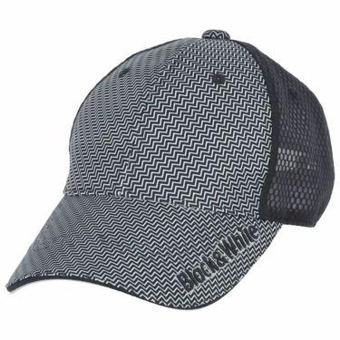 【ss特価】△ブラック&ホワイト メンズ ロゴ刺繍 ジグザグボーダー柄 メッシュ キャップ BGS8420 30 ネイビー [2020年モデル] ゴルフウェア [50%OFF] 特価 ネイビー(30)