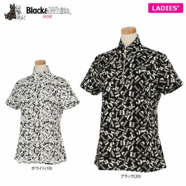 ブラック&ホワイト Black&White レディース 総柄プリント 半袖 ハーフジップシャツ BLS9710YC 2020年モデル 詳細1