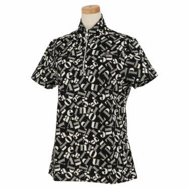 ブラック&ホワイト Black&White レディース 総柄プリント 半袖 ハーフジップシャツ BLS9710YC 2020年モデル ブラック(20)