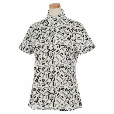 ブラック&ホワイト Black&White レディース 総柄プリント 半袖 ハーフジップシャツ BLS9710YC 2020年モデル ホワイト(10)