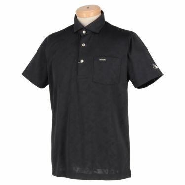 【ss特価】△ブラック&ホワイト メンズ 総柄 ジャカード 半袖 ホリゾンタルカラー ポロシャツ BGS9600XE [2020年モデル] ゴルフウェア [春夏モデル 50%OFF] 特価 ブラック(20)