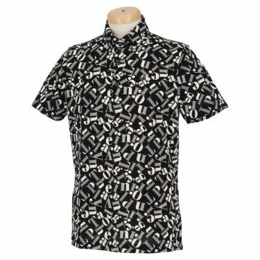 ブラック&ホワイト Black&White メンズ 総柄プリント シルケット 天竺 半袖 ボタンダウン ポロシャツ BGS9610YC 2020年モデル ブラック(20)