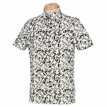 ブラック&ホワイト Black&White メンズ 総柄プリント シルケット 天竺 半袖 ボタンダウン ポロシャツ BGS9610YC 2020年モデル ホワイト(10)