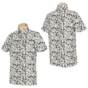 ブラック&ホワイト Black&White メンズ 総柄プリント シルケット 天竺 半袖 ボタンダウン ポロシャツ BGS9610YC 2020年モデル 詳細3