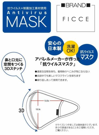 【ssプロパー】△フィッチェ メンズ 抗ウイルスマスク 210402 88 ネイビー [2021年モデル]  詳細2
