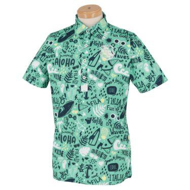 フィラ FILA メンズ アロハ柄 半袖 ポロシャツ 740-617 2020年モデル ターコイズ(TQ)