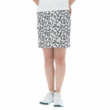 ブラック&ホワイト Black&White レディース 総柄プリント ストレッチ スカート BLS4010EE 2020年モデル ホワイト(10)