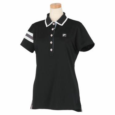 フィラ FILA レディース 配色切替 メッシュ生地 ロゴ刺繍 半袖 ポロシャツ 750-602 2020年モデル ブラック(BK)