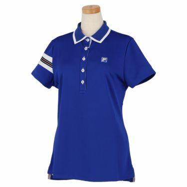 フィラ FILA レディース 配色切替 メッシュ生地 ロゴ刺繍 半袖 ポロシャツ 750-602 2020年モデル ブルー(BL)
