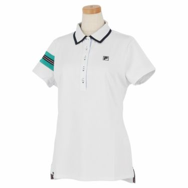 フィラ FILA レディース 配色切替 メッシュ生地 ロゴ刺繍 半袖 ポロシャツ 750-602 2020年モデル ホワイト(WT)