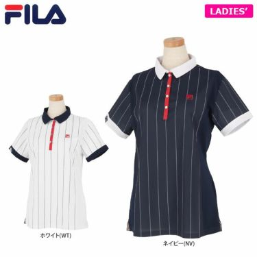 フィラ FILA レディース ストライプ柄 生地切替 半袖 ポロシャツ 750-606 2020年モデル 詳細1