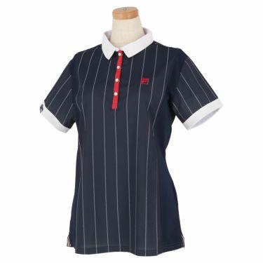 フィラ FILA レディース ストライプ柄 生地切替 半袖 ポロシャツ 750-606 2020年モデル ネイビー(NV)