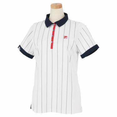 フィラ FILA レディース ストライプ柄 生地切替 半袖 ポロシャツ 750-606 2020年モデル ホワイト(WT)