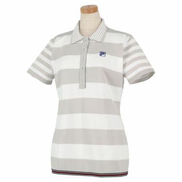 フィラ FILA レディース ボーダー柄 ニット 半袖 ポロシャツ 750-613 2020年モデル グレー(GY)