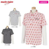 マリクレール marie claire レディース 総柄プリント 半袖 ポロシャツ & 長袖 インナーシャツ 710-506 2020年モデル