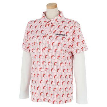 マリクレール marie claire レディース 総柄プリント 半袖 ポロシャツ & 長袖 インナーシャツ 710-506 2020年モデル レッド(RD)