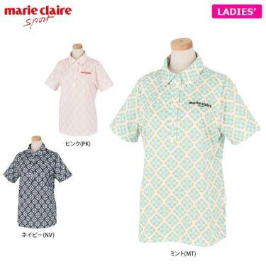 マリクレール marie claire レディース ロゴ刺繍 アラベスク柄 半袖 ポロシャツ 710-600 2020年モデル 詳細1