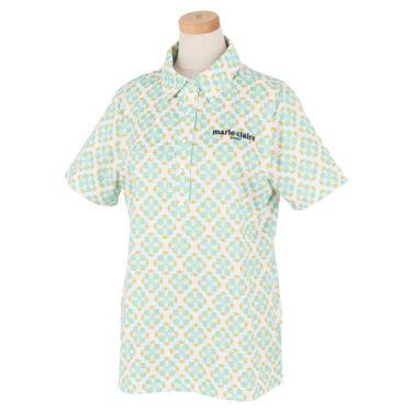 マリクレール marie claire レディース ロゴ刺繍 アラベスク柄 半袖 ポロシャツ 710-600 2020年モデル ミント(MT)