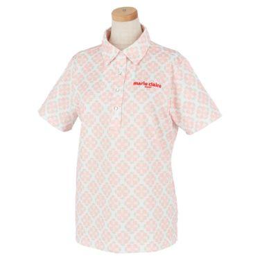 マリクレール marie claire レディース ロゴ刺繍 アラベスク柄 半袖 ポロシャツ 710-600 2020年モデル ピンク(PK)