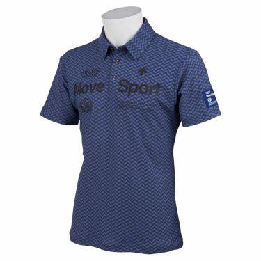 デサントゴルフ DESCENTE GOLF メンズ 鹿の子 ロゴプリント 杉綾柄 半袖 ポロシャツ DGMRJA36 2021年モデル ブルー(BL00)