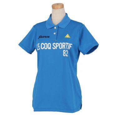 ルコック Le coq sportif レディース ロゴプリント 鹿の子 半袖 ポロシャツ QGWRJA03 2021年モデル ブルー(BL00)