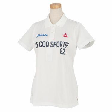 ルコック Le coq sportif レディース ロゴプリント 鹿の子 半袖 ポロシャツ QGWRJA03 2021年モデル ホワイト(WH00)