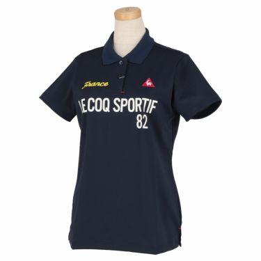 ルコック Le coq sportif レディース ロゴプリント 鹿の子 半袖 ポロシャツ QGWRJA03 2021年モデル ネイビー(NV00)
