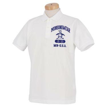 マンシングウェア Munsingwear メンズ ロゴ刺繍 半袖 ポロシャツ MGMRJA04 2021年モデル ホワイト(WH00)