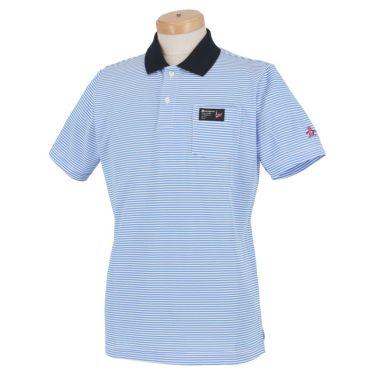マンシングウェア Munsingwear メンズ マイクロボーダー柄 半袖 ポロシャツ MGMRJA08X 2021年モデル ブルー(BL00)