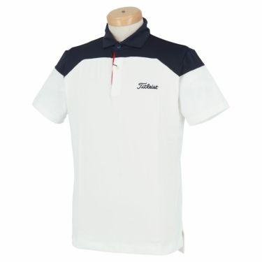 タイトリスト Titleist メンズ ロゴ刺繍 配色切替 半袖 ポロシャツ TSMC2008 2020年モデル ホワイト(WT)