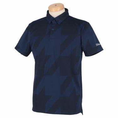 タイトリスト Titleist メンズ 千鳥柄 ジャガード 半袖 ボタンダウン ポロシャツ TSMC2012 2020年モデル ネイビー(NV)