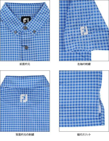 フットジョイ FootJoy メンズ チェック柄 4WAYストレッチ 半袖 ボタンダウン ポロシャツ FJ-S20-S22 2020年モデル 詳細4