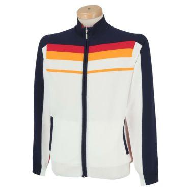フィッチェゴルフ FICCE GOLF メンズ ライン配色 長袖 フルジップ セーター 281100 ホワイト(02)