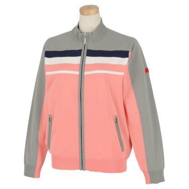 フィッチェゴルフ FICCE GOLF レディース ロゴ刺繍 ライン配色 長袖 フルジップ セーター 282300 ピンク(25)