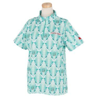 フィッチェゴルフ FICCE GOLF レディース リーフ総柄 半袖 ハーフジップシャツ 292300 ターコイズグリーン(75)