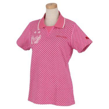 フィッチェゴルフ FICCE GOLF レディース ストライプ柄 パイル生地 半袖 Vガゼット ポロシャツ 292307 ピンク(25)