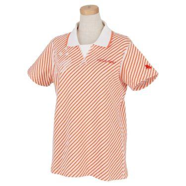 フィッチェゴルフ FICCE GOLF レディース ストライプ柄 パイル生地 半袖 Vガゼット ポロシャツ 292307 オレンジ(45)