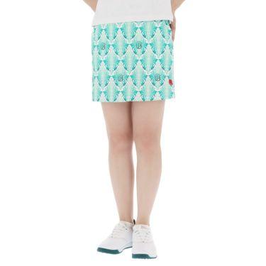 フィッチェゴルフ FICCE GOLF レディース リーフ総柄 アンダーパンツ付き スカート 292400 ターコイズグリーン(75)