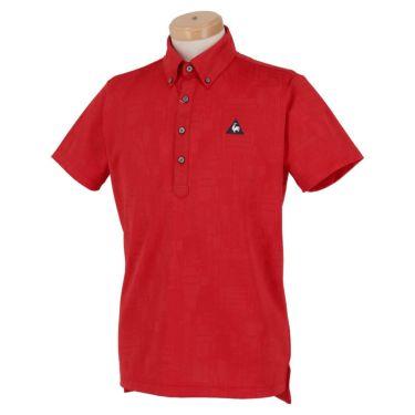 ルコック Le coq sportif メンズ ロゴ刺繍 総柄 ジャガード 半袖 ボタンダウン ポロシャツ QGMPJA03 2020年モデル レッド(RD00)