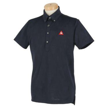 ルコック Le coq sportif メンズ ロゴ刺繍 総柄 ジャガード 半袖 ボタンダウン ポロシャツ QGMPJA03 2020年モデル ネイビー(NV00)