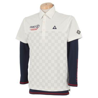 ルコック Le coq sportif メンズ 市松柄 半袖 ポロシャツ & 長袖 インナーシャツ QGMPJA04W 2020年モデル ホワイト(WH00)