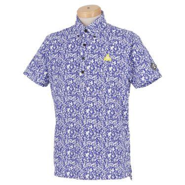 ルコック Le coq sportif メンズ ロゴ刺繍 鹿の子 カモフラージュ柄 半袖 ボタンダウン ポロシャツ QGMPJA10 2020年モデル ブルー(BL00)