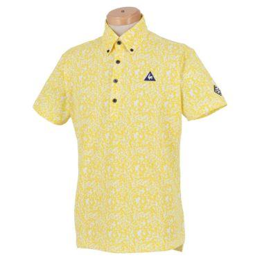 ルコック Le coq sportif メンズ ロゴ刺繍 鹿の子 カモフラージュ柄 半袖 ボタンダウン ポロシャツ QGMPJA10 2020年モデル イエロー(YL00)