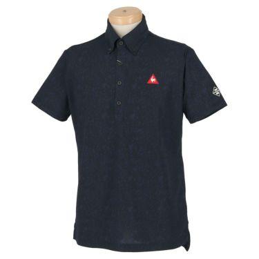 ルコック Le coq sportif メンズ ロゴ刺繍 鹿の子 カモフラージュ柄 半袖 ボタンダウン ポロシャツ QGMPJA10 2020年モデル ネイビー(NV00)
