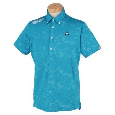ルコック Le coq sportif メンズ ロゴ刺繍 総柄 ジャカード 半袖 ボタンダウン ポロシャツ QGMPJA17 2020年モデル ブルー(BL00)