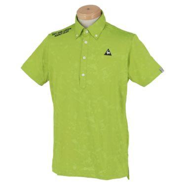ルコック Le coq sportif メンズ ロゴ刺繍 総柄 ジャカード 半袖 ボタンダウン ポロシャツ QGMPJA17 2020年モデル グリーン(GR00)